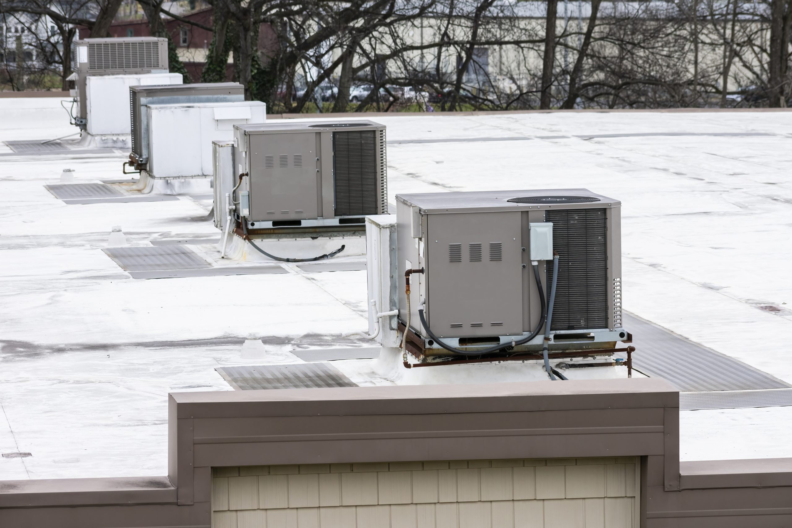 Row of Rooftop commercial Air Condition Units